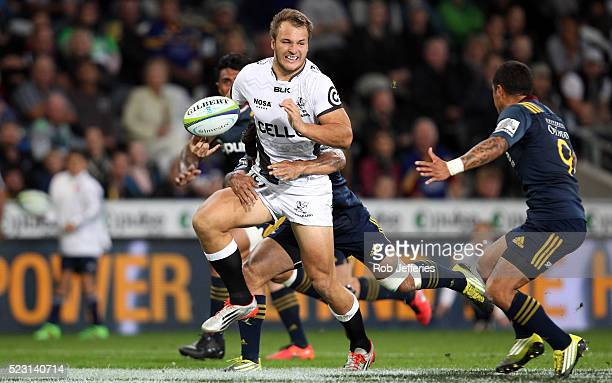 Andre Esterhuizen of the Sharks on the charge during the round nine Super Rugby match between the Highlanders and the Sharks at Forsyth Barr Stadium...