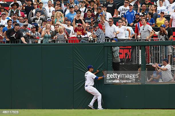 Andre Ethier of the Dodgers catches out Paul Goldschmidt of the Diamondbacks during the MLB match between the Los Angeles Dodgers and the Arizona...