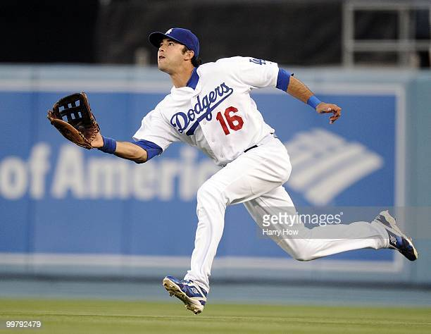 Andre Ethier of the Los Angeles Dodgers makes a running catch for an out of Ian Stewart of the Colorado Rockies during the second inning at Dodger...