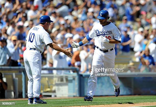 Andre Ethier of the Los Angeles Dodgers runs the bases after hitting a two run homerun in the third inning against the San Francisco Giants at Dodger...
