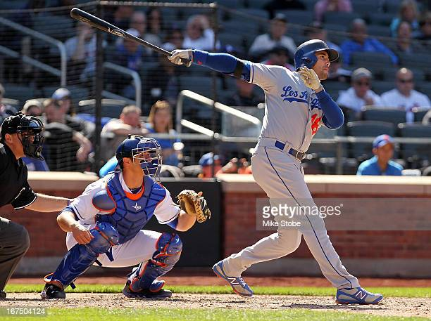 Andre Ethier of the Los Angeles Dodgers single in the go ahead run in the ninthinning against the New York Mets at Citi Field on April 25 2013 at...