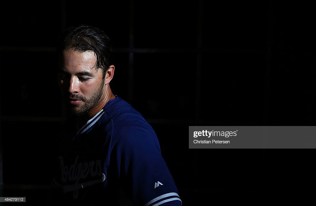 Andre Ethier #16 of the Los Angeles Dodgers steps out of the dugout before the MLB game against the Arizona Diamondbacks at Chase Field on August 27, 2014 in Phoenix, Arizona.