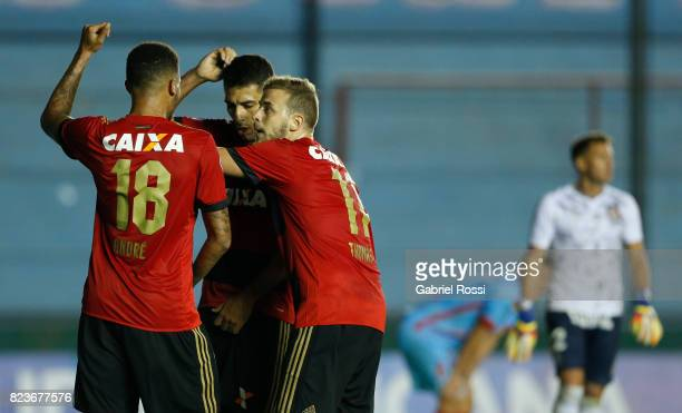 Andre Felipe of Sport Recife celebrates with teammates after scoring the first goal of his team during a second leg match between Arsenal and Sport...