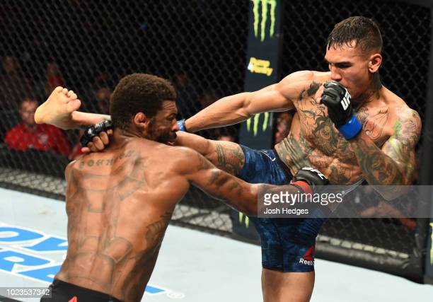 Andre Fili kicks Michael Johnson in their lightweight fight during the UFC Fight Night event at Pinnacle Bank Arena on August 25 2018 in Lincoln...