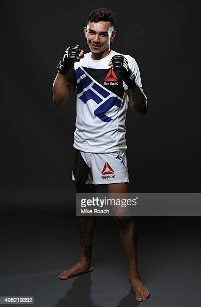 Andre Fili of the United States poses for a portrait backstage after his knockout victory over Gabriel Benitez of Mexico during the UFC Fight Night...