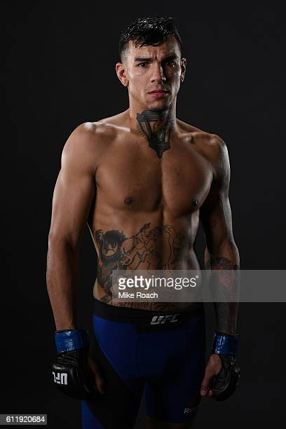 Andre Fili poses for a post fight portrait backstage during the UFC Fight Night event at the Moda Center on October 1 2016 in Portland Oregon