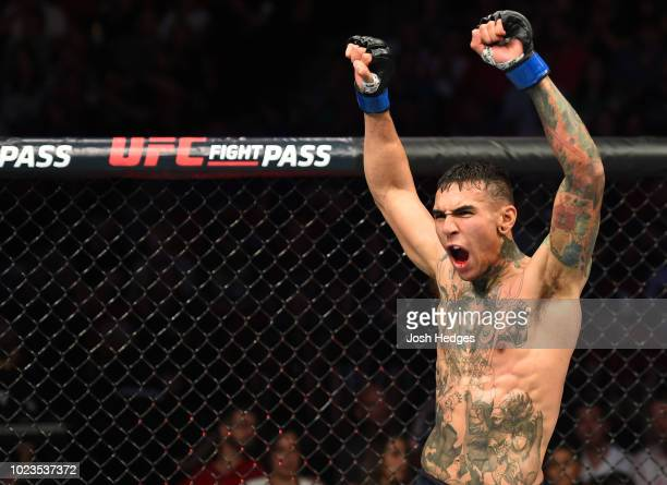 Andre Fili reacts after the conclusion of his lightweight fight against Michael Johnson during the UFC Fight Night event at Pinnacle Bank Arena on...