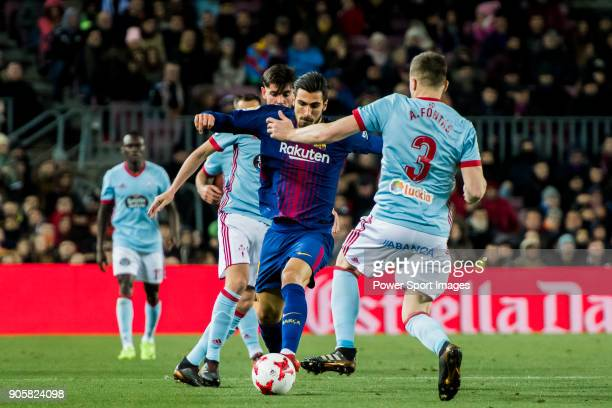 Andre Filipe Tavares Gomes of FC Barcelona fights for the ball with Andreu Fontas Prat of RC Celta de Vigo during the Copa Del Rey 201718 Round of 16...