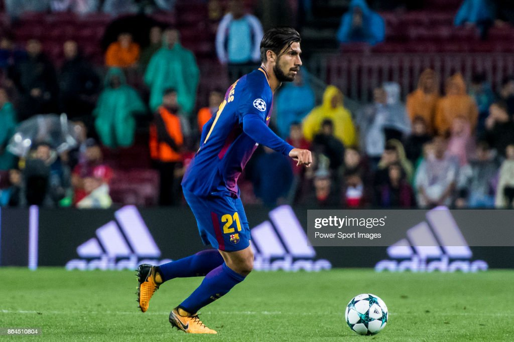 Andre Filipe Tavares Gomes of FC Barcelona in action during the UEFA Champions League 2017-18 match between FC Barcelona and Olympiacos FC at Camp Nou on 18 October 2017 in Barcelona, Spain.