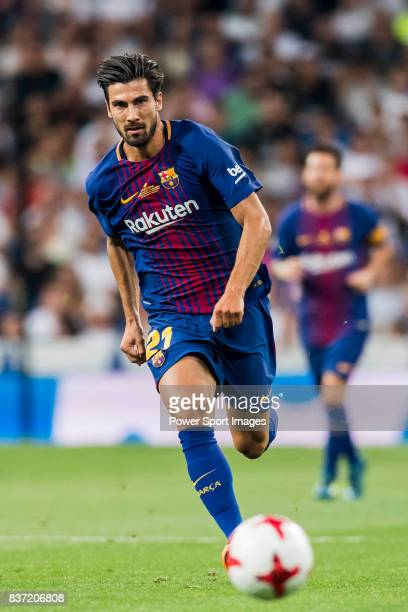 MADRID SPAIN AUGUST 16 Andre Filipe Tavares Gomes of FC Barcelona in action during their Supercopa de Espana Final 2nd Leg match between Real Madrid...