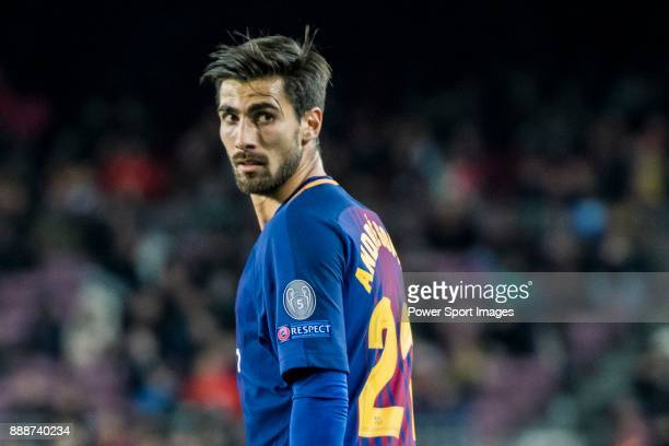 Andre Filipe Tavares Gomes of FC Barcelona reacts during the UEFA Champions League 201718 match between FC Barcelona and Sporting CP at Camp Nou on...