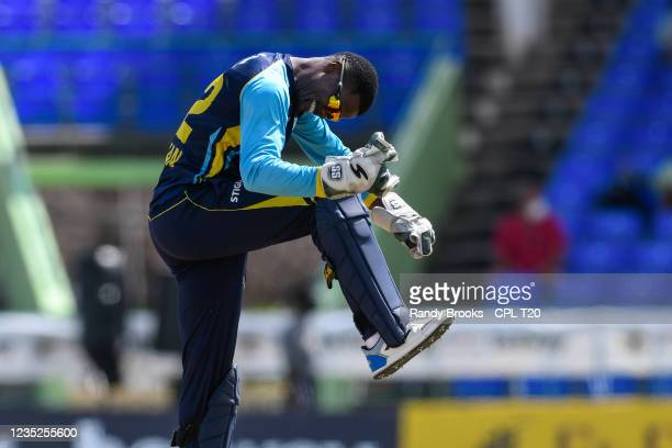 Andre Fletcher of Saint Lucia Kings celebrates winning the 2021 Hero Caribbean Premier League Play-Off match 31 between Saint Lucia Kings and...