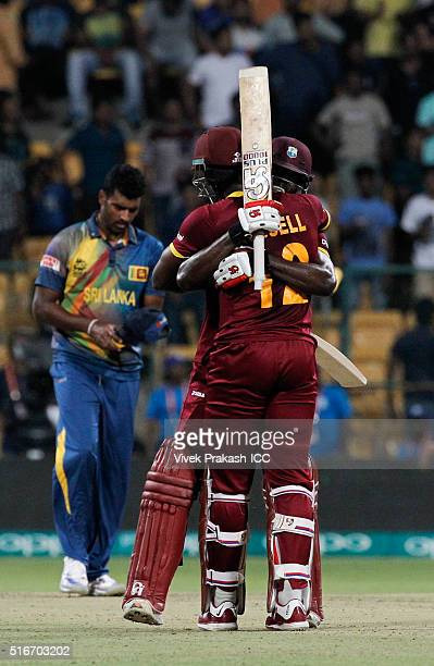 Andre Fletcher of the West Indies celebrates after they won during the ICC World Twenty20 India 2016 match between Sri Lanka and West Indies at M...