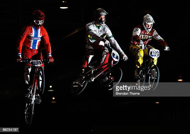 Andre Fossa Aquiluz of Norway, Joshua Callan of Australia and Rihards Veide of Latvia ride during the UCI BMX World Championships at thee Adelaide...