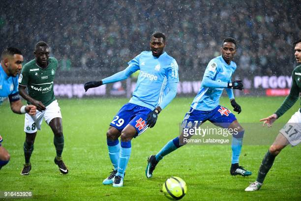 Andre Frank Zambo Anguissa and Bouna Sarr of Marseille during the Ligue 1 match between AS SaintEtienne and Olympique Marseille at Stade...