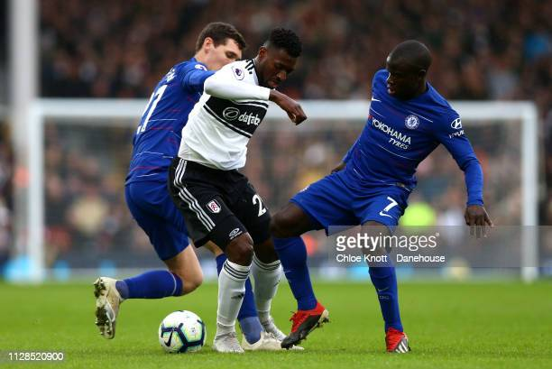 Andre Frank Zambo Anguissa of Fulham FC and Andrease Christensen and NGolo Kante of Chelsea FC in action during the Premier League match between...