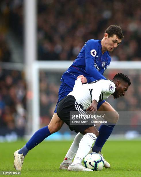 Andre Frank Zambo Anguissa of Fulham FC and Andrease Christensen of Chelsea FC in action during the Premier League match between Fulham FC and...