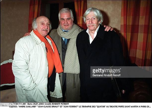 Andre Gaillard 'Jean Claude Brialy' and 'Jean Ferrrat' the success of 'Quartets' at the theater Porte Saint Martin in Paris
