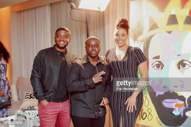 Andre Gains, Enoch, and Jordin Sparks attend The One And Only, Dick Gregory, Album Release Event on September 16, 2021 in Burbank, California.