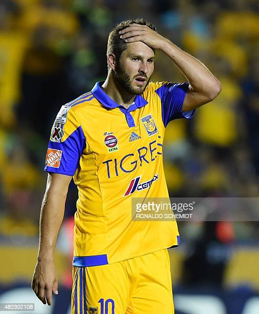 Andre Gignac of Mexico's Tigres reacts during their Libertadores Cup final first leg football match at the Universitario Stadium in Monterrey Nuevo...