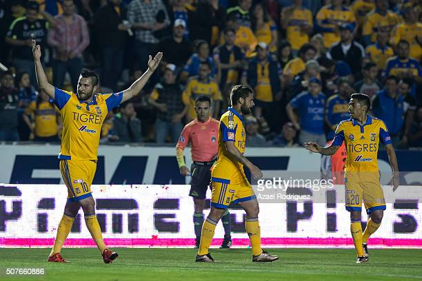 Andre Gignac of Tigres celebrates a goal during the fourth round match between Tigres and Leon as part of the Clausura 2016 Liga MX at Universitario...
