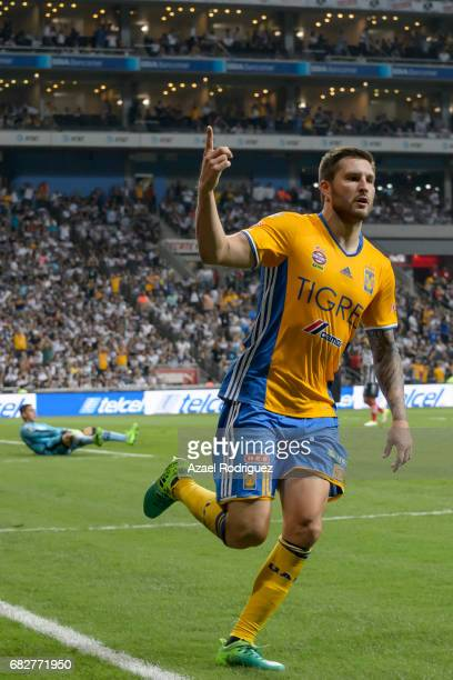 Andre Gignac of Tigres celebrates after scoring his team's second goal during the quarter finals second leg match between Monterrey and Tigres UANL...