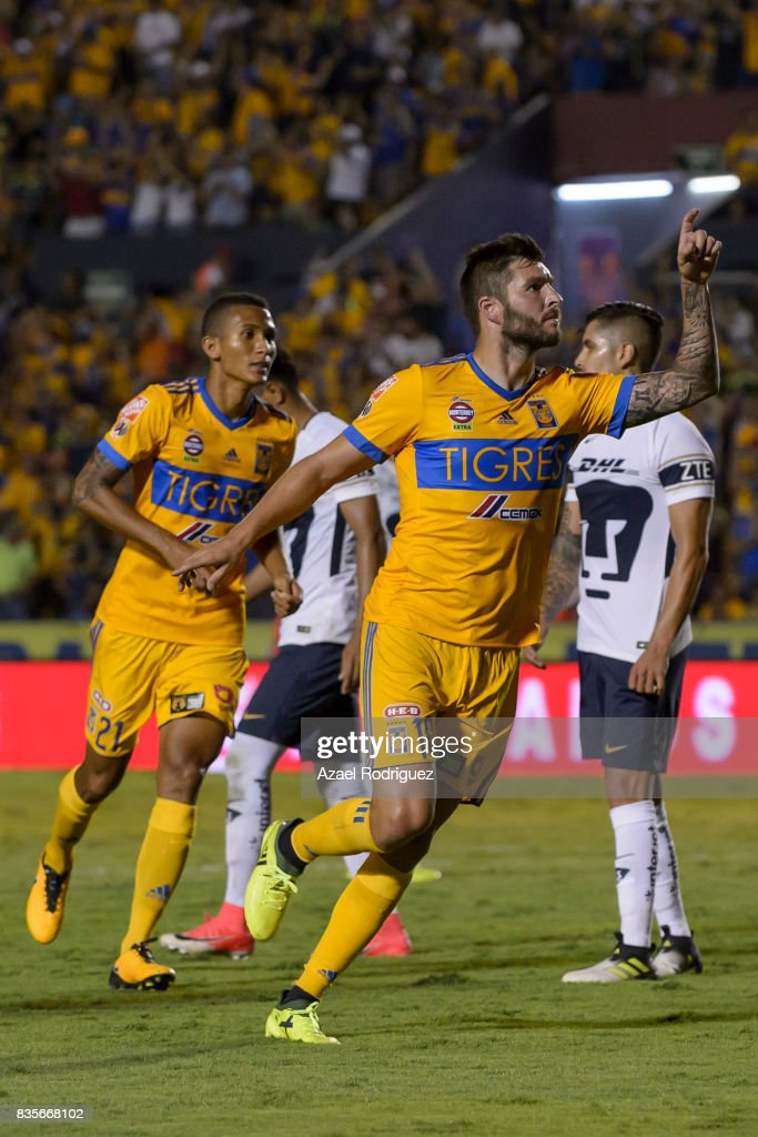 Andre Gignac of Tigres celebrates after scoring his team's second goal during the 5th round match between Tigres and Pumas as part of the Torneo Apertura 2017 Liga MX at Universitario Stadium on August 19, 2017 in Monterrey, Mexico.
