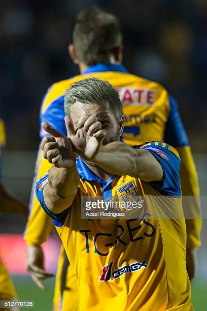 Andre Gignac of Tigres celebrates after scoring his team's third goal during a 8th round match between Tigres UANL and America as part of the...