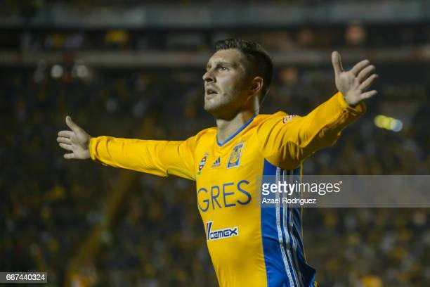 Andre Gignac of Tigres celebrates after scoring his team's third goal during the match between Tigres and Chivas as part of the Clausura 2017 Liga MX...