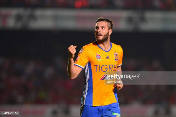 Andre Gignac of Tigres celebrates after scoring the first goal of his team during the 7th round match between Veracruz and Chiapas as part of the...