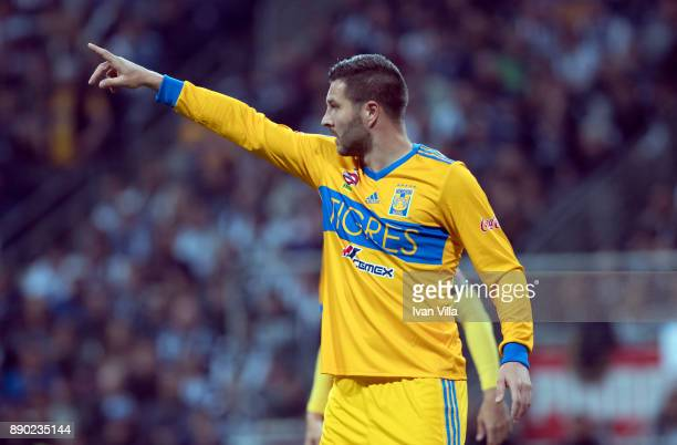 Andre Gignac of Tigres gestures during the Final second leg match between Monterrey and Tigres UANL as part of the Torneo Apertura 2017 Liga MX at...