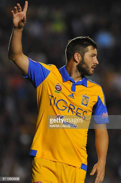 Andre Gignac of Tigres gestures during the match against Queretaro during their Mexican Clausura 2016 Tournament football match at the La Corregidora...