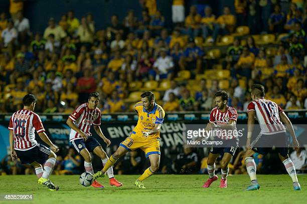 Andre Gignac of Tigres in action during a 3rd round match between Tigres UANL and Chivas as part of the Apertura 2015 Liga MX at Universitario...