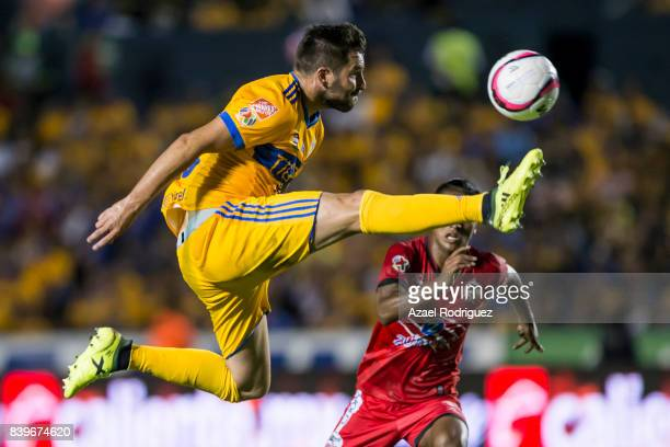 Andre Gignac of Tigres kicks the ball during the seventh round match between Tigres UANL and Lobos BUAP as part of the Torneo Apertura 2017 Liga MX...
