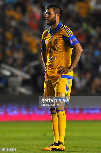 Andre Gignac of Tigres reacts after lost a chance to score against Queretaro during their Mexican Clausura 2016 Tournament football match at the La...
