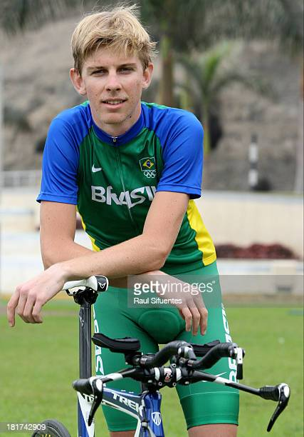 Andre Gohr of Brazil, winner of the mixed team trial Men's Final competition, poses for a picture as part of the I ODESUR South American Youth Games...