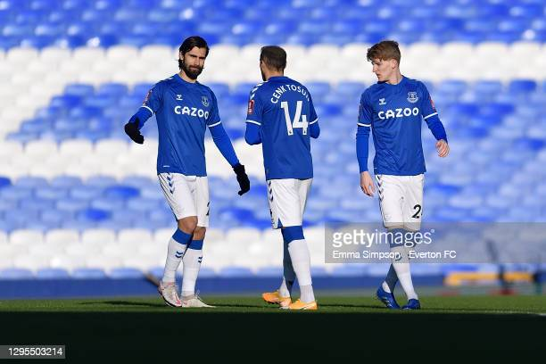 Andre Gomes Cenk Tosun and Anthony Gordon of Everton during the FA Cup Third Round match between Everton and Rotherham United at Goodison Park on...