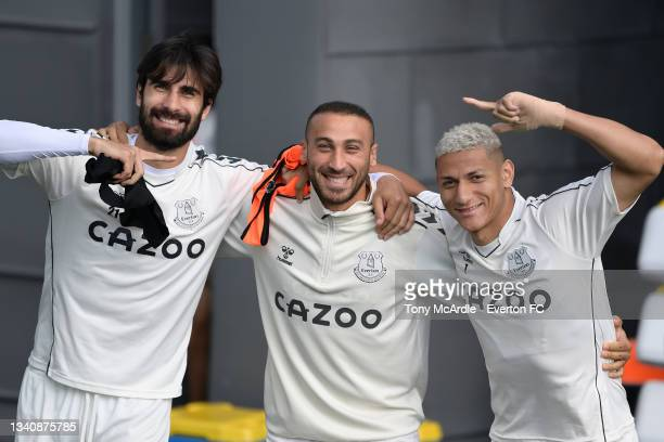 Andre Gomes Cenk Tosun and Richarlison during the Everton Training Session at USM Finch Farm on September 16 2021 in Halewood, England.