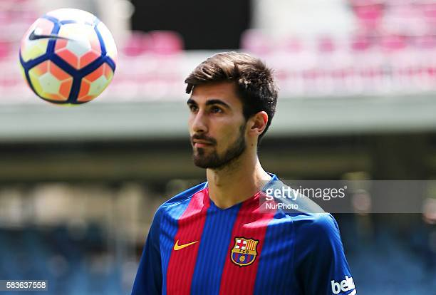 Andre Gomes during his presentation for the FC Barcelona held in the Camp Nou stadium on 27 july 2016