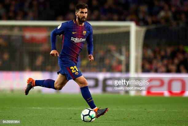 Andre Gomes of Barcelona in action during the La Liga match between Barcelona and Leganes at Camp Nou on April 7 2018 in Barcelona Spain
