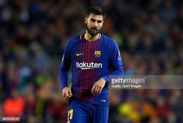 Andre Gomes of Barcelona looks on during the UEFA Champions League Quarter Final Leg One match between FC Barcelona and AS Roma at Camp Nou on April...
