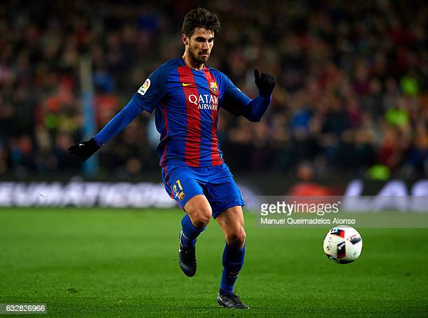 Andre Gomes of Barcelona runs with the ball during the Copa del Rey quarterfinal second leg match between FC Barcelona and Real Sociedad at Camp Nou...