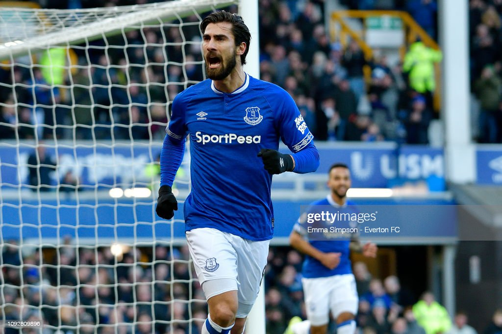 efa058fd Andre Gomes of Everton celebrates his goal during the Premier League ...