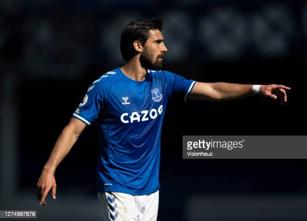 Andre Gomes of Everton during the Premier League match between Everton and West Bromwich Albion at Goodison Park on September 19, 2020 in Liverpool,...