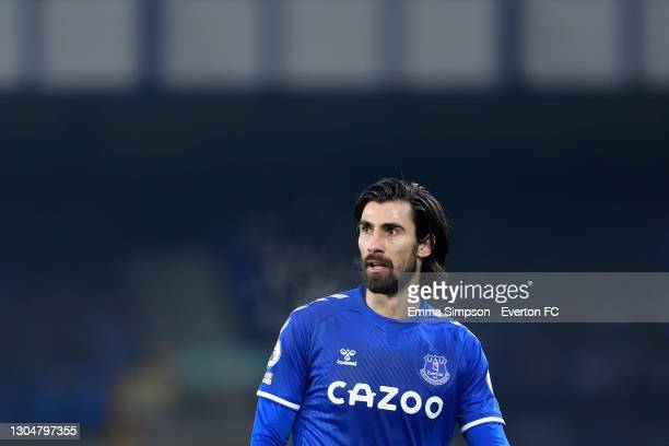 Andre Gomes of Everton during the Premier League match between Everton and Southampton at Goodison Park on March 2021 in Liverpool, England.