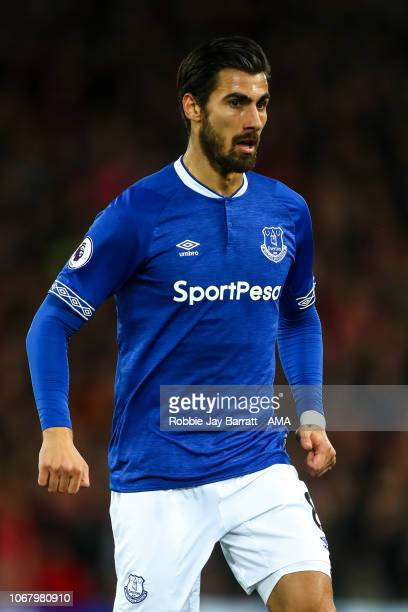 Andre Gomes of Everton during the Premier League match between Liverpool FC and Everton FC at Anfield on December 2 2018 in Liverpool United Kingdom