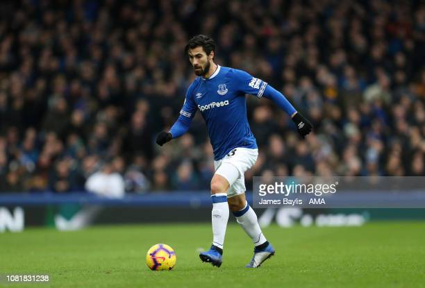 Andre Gomes of Everton during the Premier League match between Everton FC and AFC Bournemouth at Goodison Park on January 13 2019 in Liverpool United...
