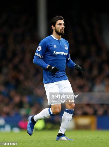 Andre Gomes of Everton during the Premier League match between Everton FC and AFC Bournemouth at Goodison Park on January 13, 2019 in Liverpool,...