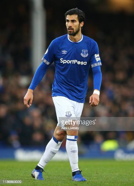 Andre Gomes of Everton FC looks on during the Premier League match between Everton FC and Chelsea FC at Goodison Park on March 17 2019 in Liverpool...