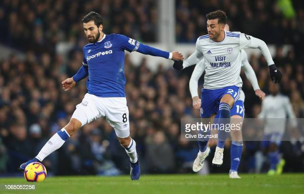 Andre Gomes of Everton in action during the Premier League match between Everton FC and Cardiff City at Goodison Park on November 24 2018 in...